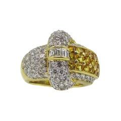 Yellow Sapphire Diamond 18 Karat Gold Ring