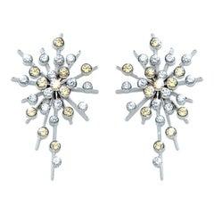 Yellow Sapphire Diamond 18 Karat White Gold Soleil Drop Earrings Natalie Barney