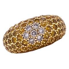 Yellow Sapphire Diamond 18 Karat Yellow Gold Modern Band Ring