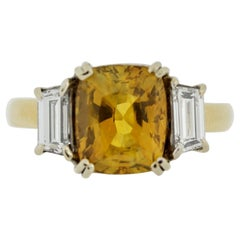 Yellow Sapphire Diamond 3-Stone Gold Ring