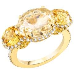 Yellow Sapphire Diamond Cocktail Ring Weighing 9.78 Carat GIA Natural No Heat