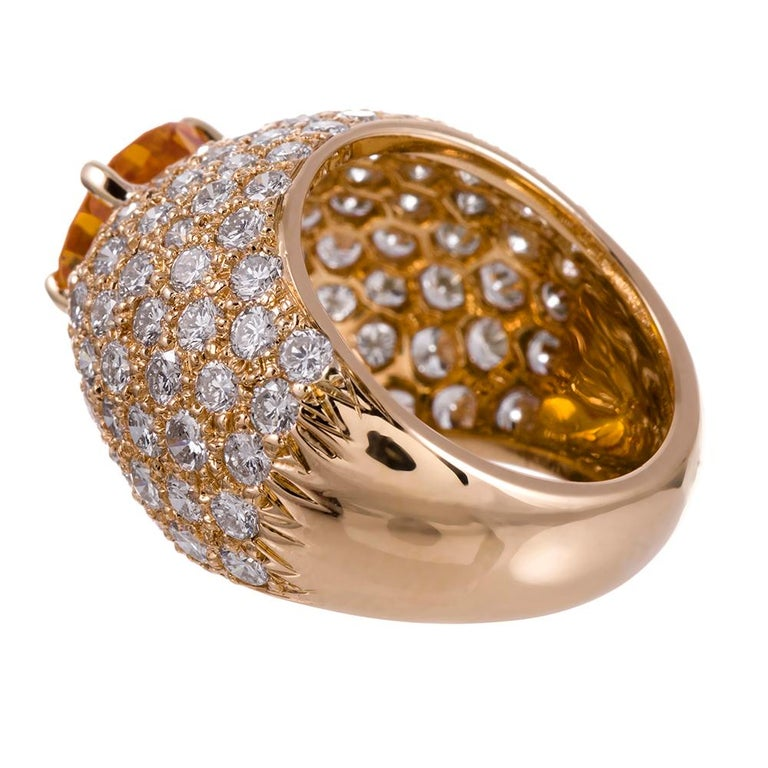 Yellow Sapphire and Diamond Dome Ring In Excellent Condition For Sale In Carmel-by-the-Sea, CA