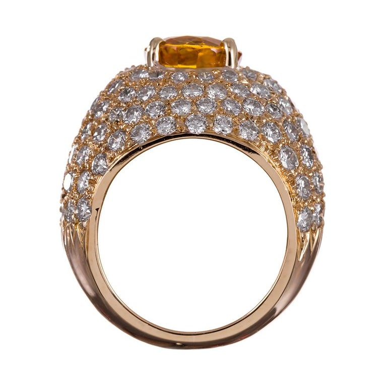 Women's or Men's Yellow Sapphire and Diamond Dome Ring For Sale