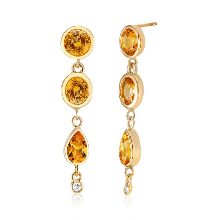 Contemporary Yellow Sapphire Diamond Drop Earrings Weighing 6.33 Carat For Sale