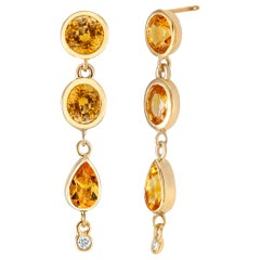 Diamond  Yellow Sapphire Yellow Gold Drop Earrings Weighing 6.33 Carat