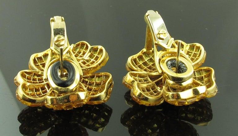 Yellow Sapphire and Diamond Flower Earrings 2