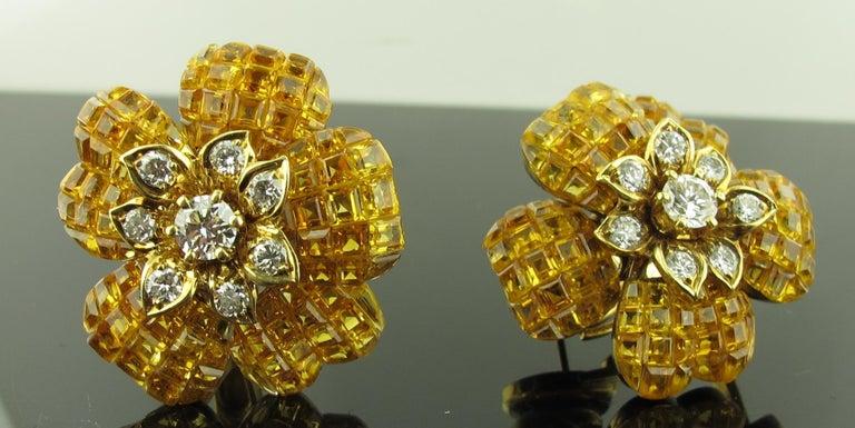 Yellow Sapphire and Diamond Flower Earrings 3