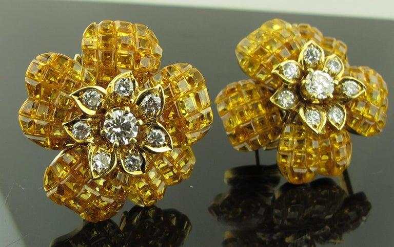 Yellow Sapphire and Diamond Flower Earrings 4