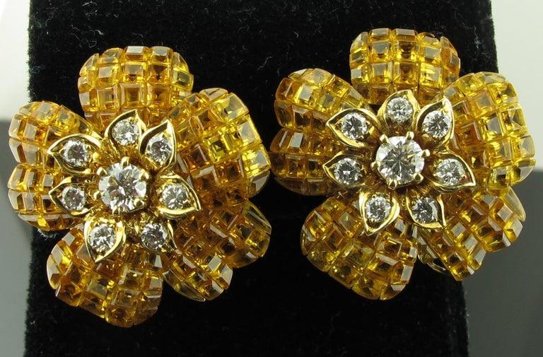 Yellow Sapphire and Diamond Flower Earrings 5
