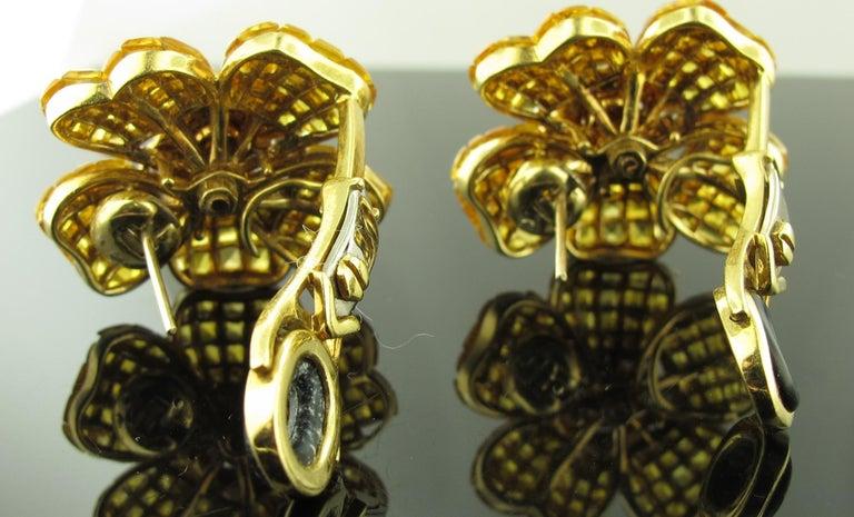 Yellow Sapphire and Diamond Flower Earrings 6