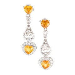 1.53 Carat Yellow Heart Shape Sapphire Diamond Gold Dangle Earrings