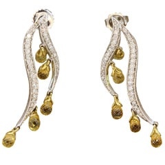 Yellow Sapphire Diamond Gold Dangle Earrings