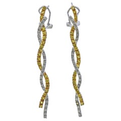 Yellow Sapphire Diamond Gold Earrings