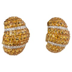 Yellow Sapphire Diamond Gold Platinum Earrings