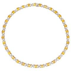 Yellow Sapphire Diamond Necklace