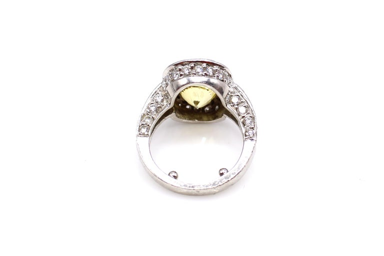 Yellow Sapphire Diamond Platinum Engagement Ring In Excellent Condition For Sale In New York, NY
