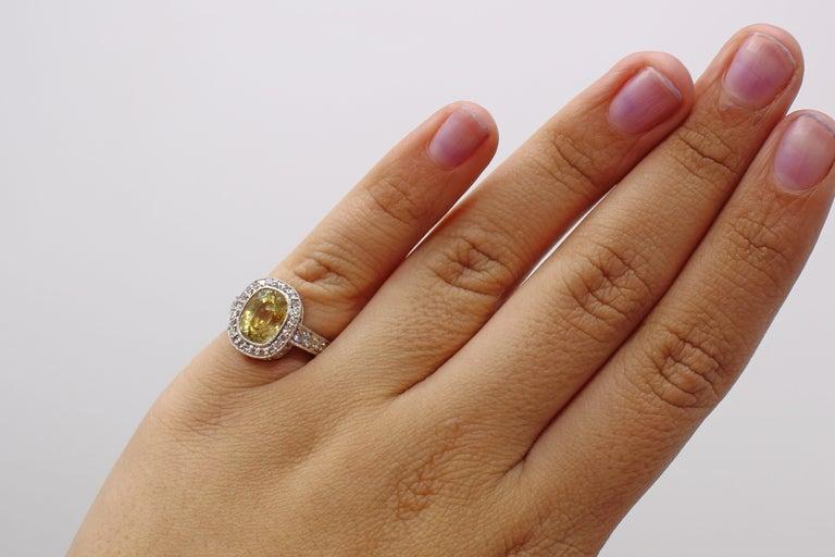 Women's or Men's Yellow Sapphire Diamond Platinum Engagement Ring For Sale