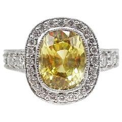 Yellow Sapphire Diamond Platinum Engagement Ring