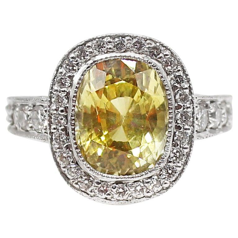 Yellow Sapphire Diamond Platinum Engagement Ring For Sale