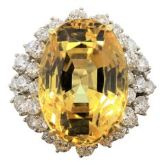Yellow Sapphire Diamond Platinum Ring, AGL Certified