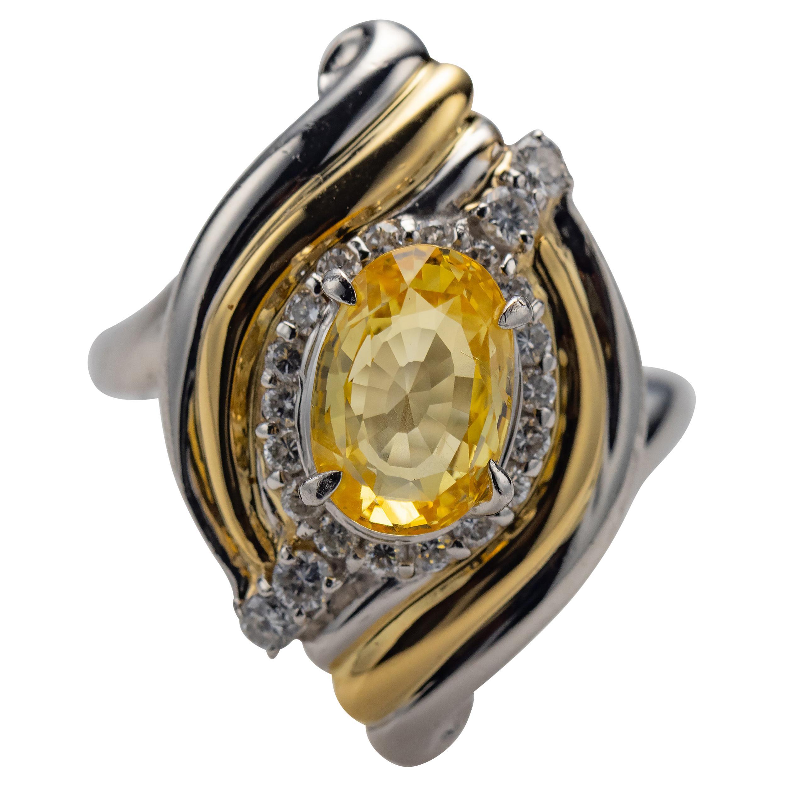 Yellow Sapphire & Diamond Ring GIA Certified No-Heat