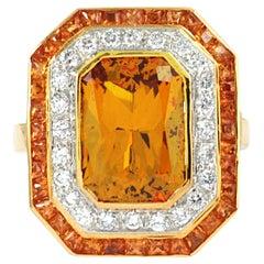 Yellow Sapphire, Diamond Ring Set in 18 Karat Gold Settings