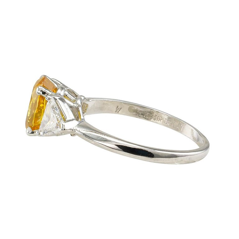 Contemporary Yellow Sapphire Diamond Three-Stone Platinum Ring For Sale