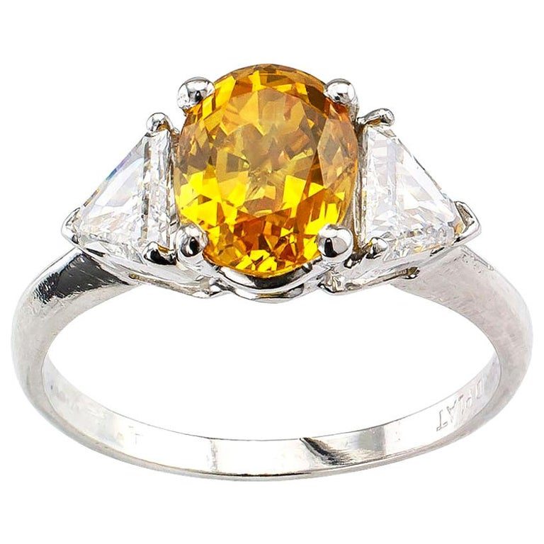 Yellow Sapphire Diamond Three-Stone Platinum Ring For Sale