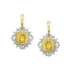 Yellow Sapphire Earrings 18 Karat Yellow and White Gold