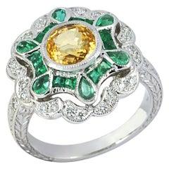 Yellow Sapphire, Emerald with Diamond Ring Set in 18 Karat White Gold Setting