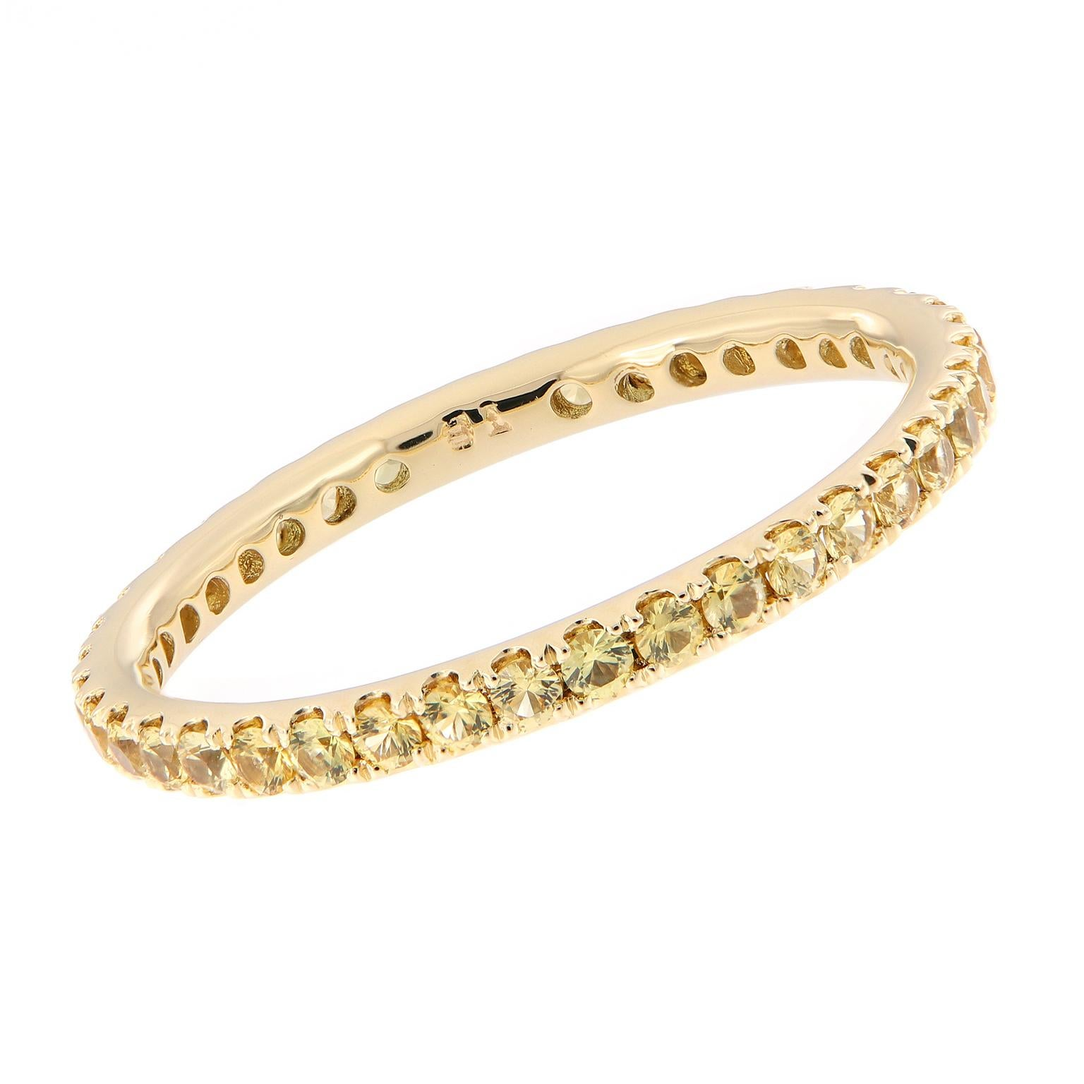 Yellow Sapphire Eternity Gold Band Ring