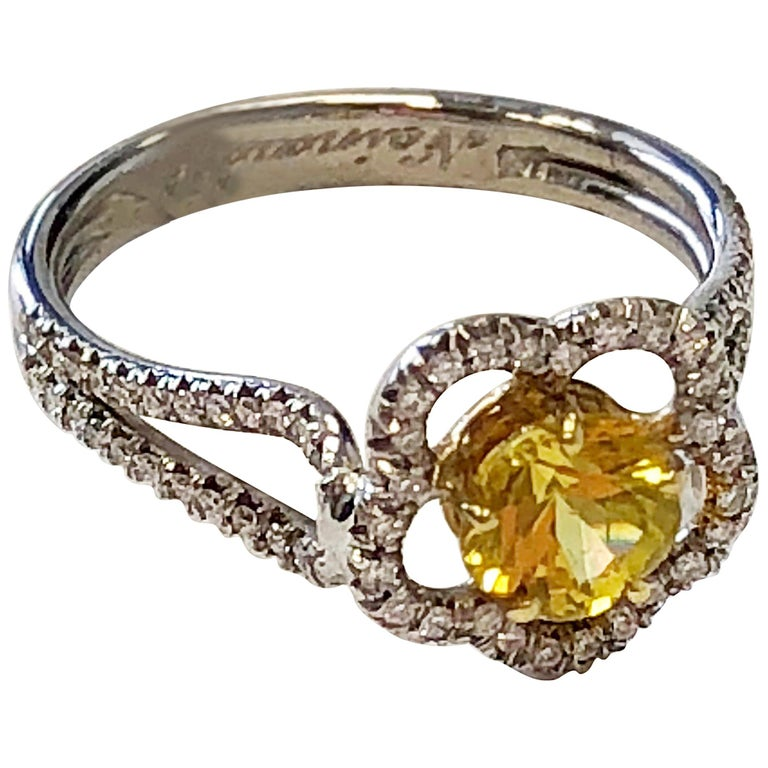 Yellow Sapphire Flower Shape and Diamond Ring in 18 Karat Gold For Sale