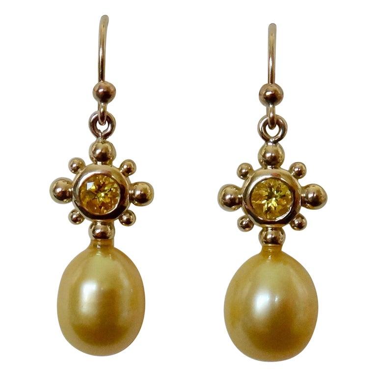 Yellow Sapphire Golden South Seas Pearl 18 Karat Yellow Gold Dangle Earrings For Sale