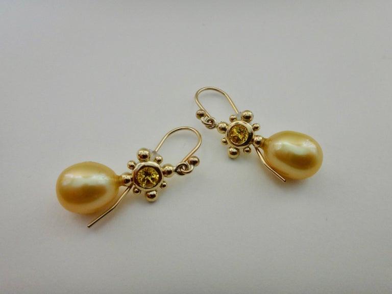 Women's Yellow Sapphire Golden South Seas Pearl 18 Karat Yellow Gold Dangle Earrings For Sale