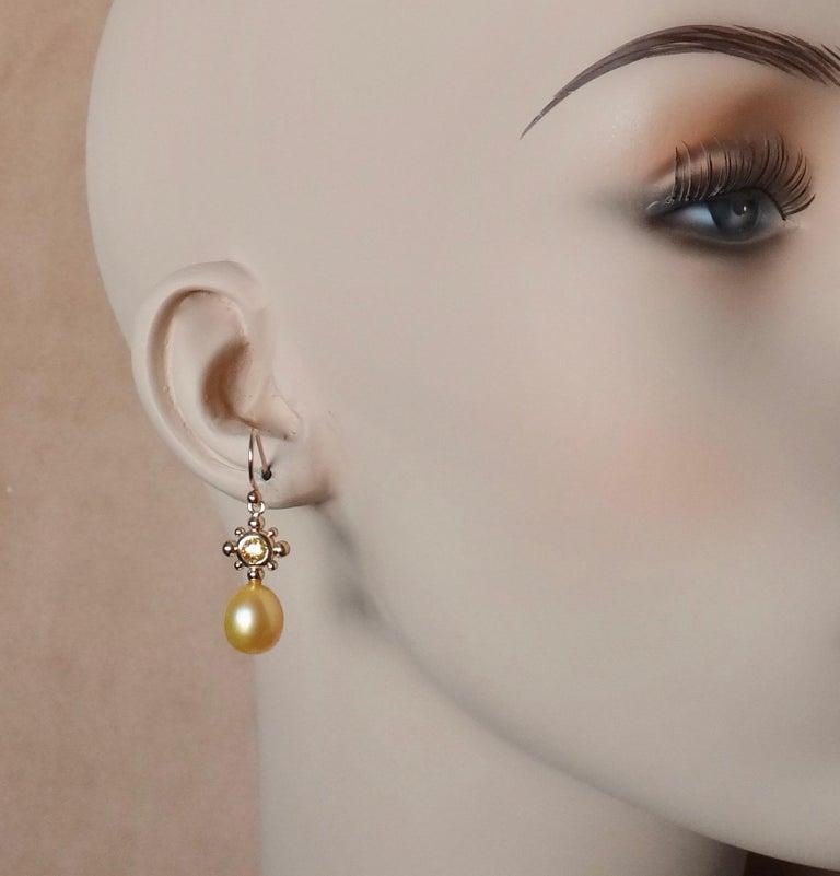 Yellow Sapphire Golden South Seas Pearl 18 Karat Yellow Gold Dangle Earrings For Sale 1