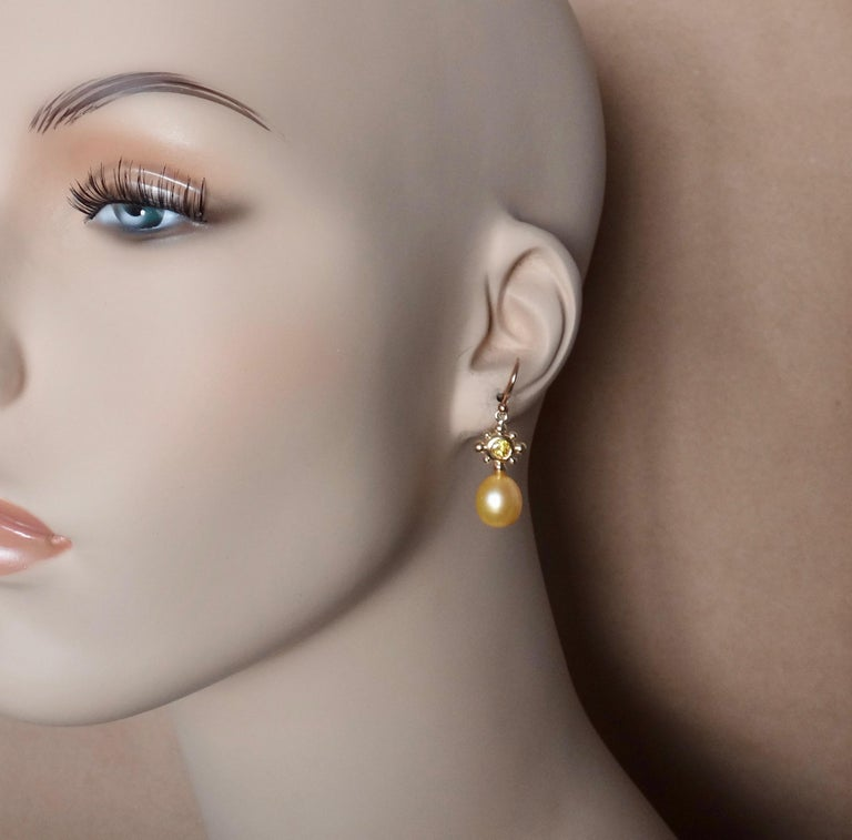 Yellow Sapphire Golden South Seas Pearl 18 Karat Yellow Gold Dangle Earrings For Sale 3