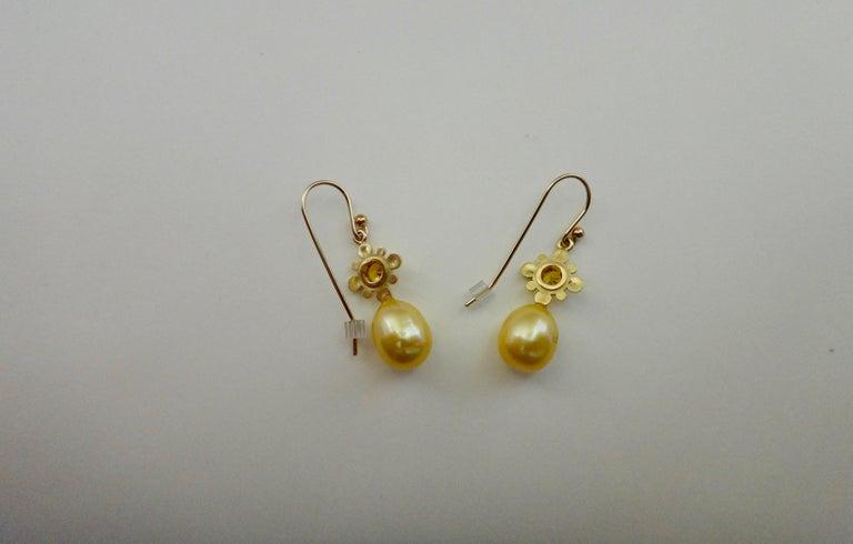 Yellow Sapphire Golden South Seas Pearl 18 Karat Yellow Gold Dangle Earrings For Sale 4
