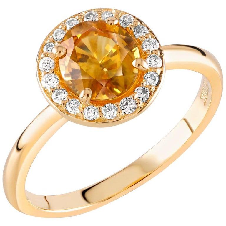 Yellow Sapphire Diamond Eighteen Karat Gold Cluster Cocktail Ring  For Sale