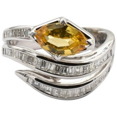 Yellow Sapphire Marquise and Diamonds White Gold Snake Ring Made in Italy