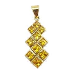 Yellow Sapphire Pendant Set I 18 Karat Gold Settings