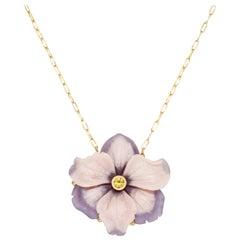 Yellow Sapphire, Pink Calcite, Lavender Aventurine Carved Flower Necklace 18k YG