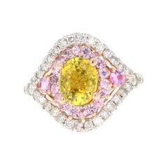 Yellow Sapphire Pink Sapphire Diamond 14 Karat White Gold Bridal Ring