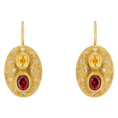 Yellow Sapphire, Red Spinel and White Diamond Yellow Gold Dangle Drop Earrings