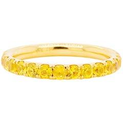 Yellow Sapphire Ring Eternity Band, 18 Karat Gold 1.76 Carat Sapphire, Wedding
