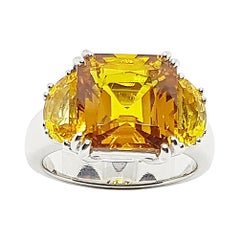 Yellow Sapphire Ring Set in Platinum 950 Settings