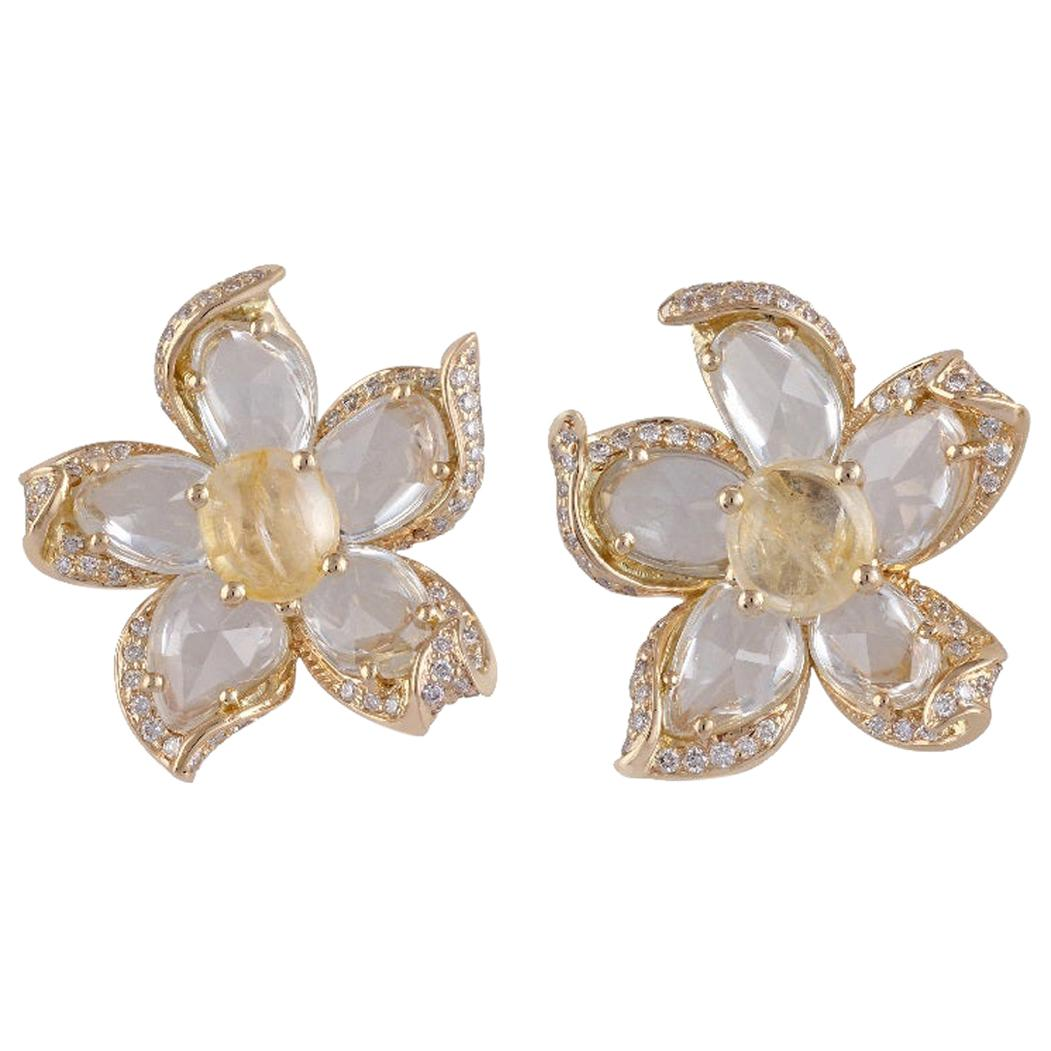 Yellow Sapphire, White Sapphire and Diamond Earrings Studded in 18 Karat Gold
