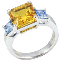 Yellow Sapphire with Blue Sapphire Ring Set in 18 Karat White Gold Settings