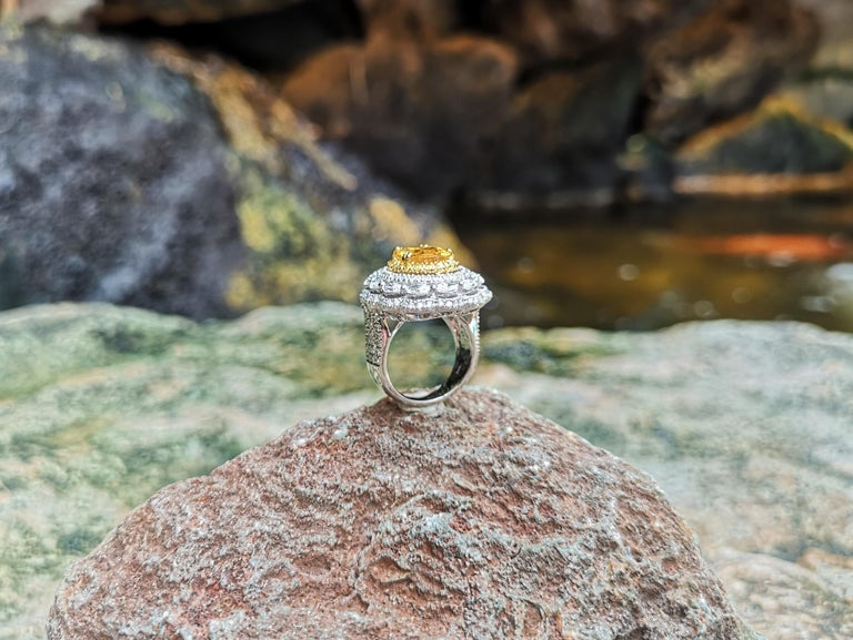 Yellow Sapphire with Diamond and Yellow Diamond Ring Set in 18 Karat White Gold For Sale 5
