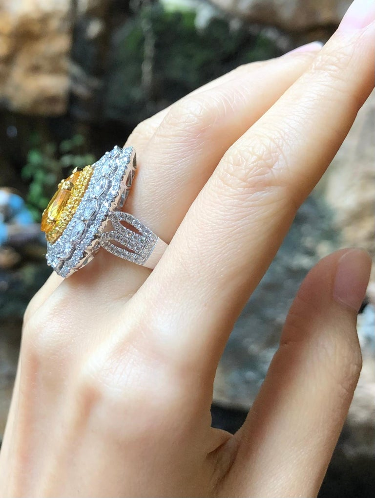 Mixed Cut Yellow Sapphire with Diamond and Yellow Diamond Ring Set in 18 Karat White Gold For Sale