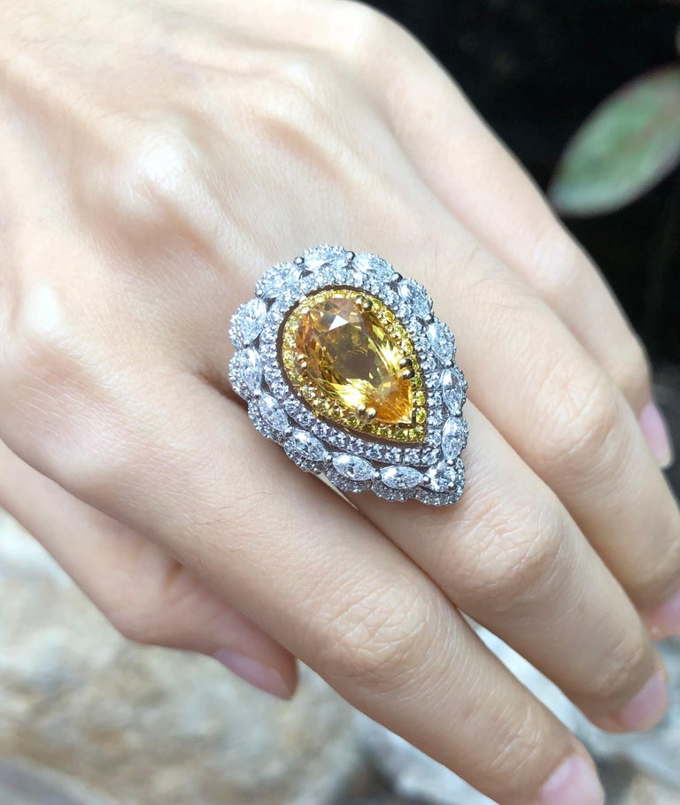 Women's Yellow Sapphire with Diamond and Yellow Diamond Ring Set in 18 Karat White Gold For Sale